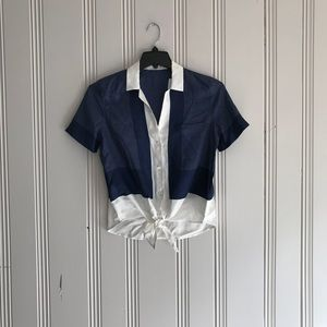 Neiman Marcus 100% Silk Tie Blouse